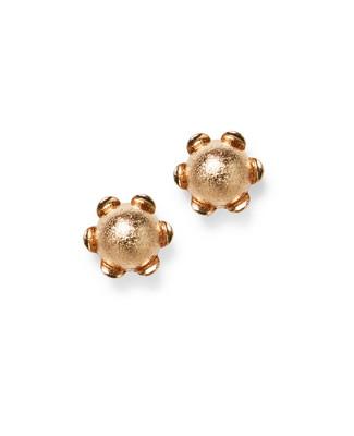 Women's gold flower stud earrings