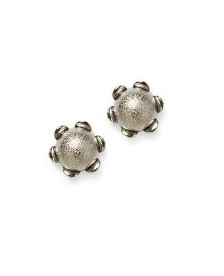 Women's silver flower stud earrings