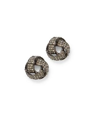Women's gun metal entwined stud earrings