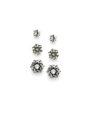 Women's cubic zirconia three pack earring set
