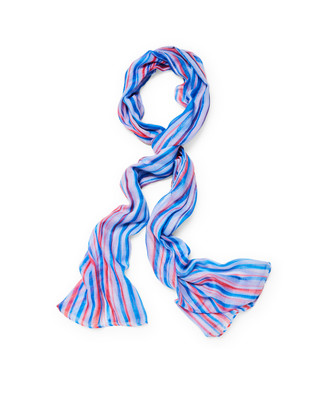 Women's blue scarf with stripes