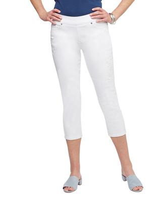 Women's white cropped denim pants with floral embroidery