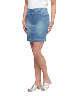 Women's embellished light wash denim skirt
