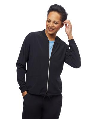 Women's black loose fit travel jacket with drawstring hem
