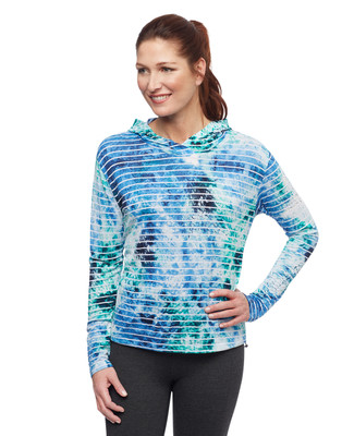 Women's nile blue activewear hoodie with textured stripes