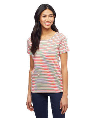 Women's cotton boat neck stripe tee