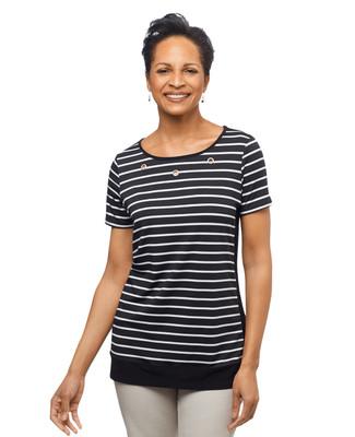 Women's black stripe short sleeve blouse