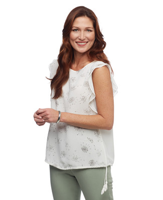 Women's Amanda Green cap sleeve printed blouse with drawstring hemline