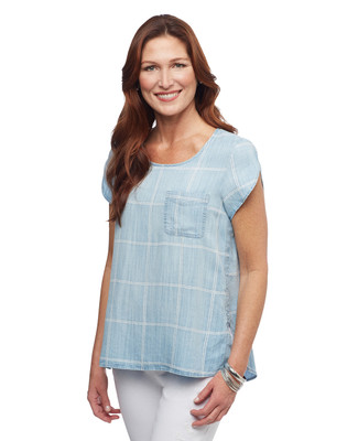 Women's hi-low tunic top with cap sleeves and check print
