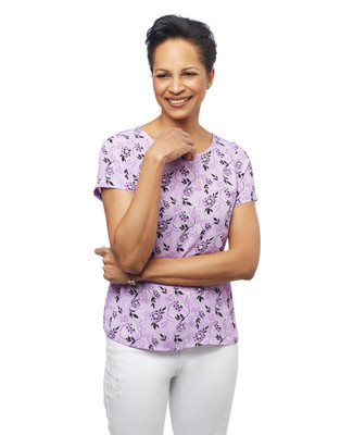 Women's petite purple short sleeve shirt