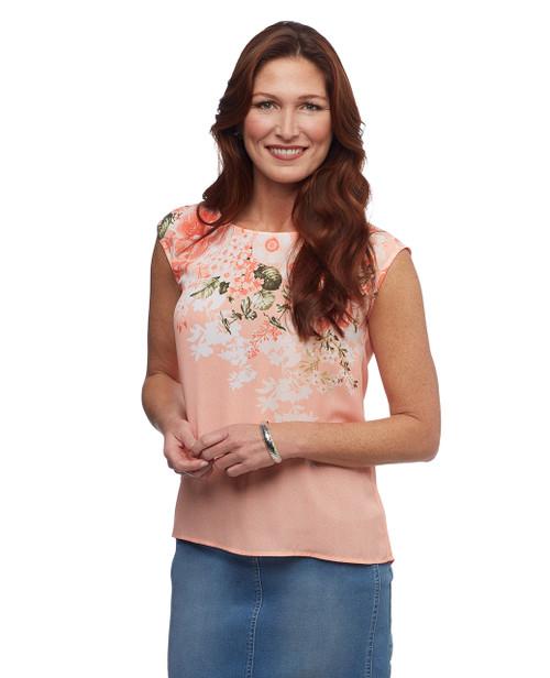 Women's petite pink sleeveless top