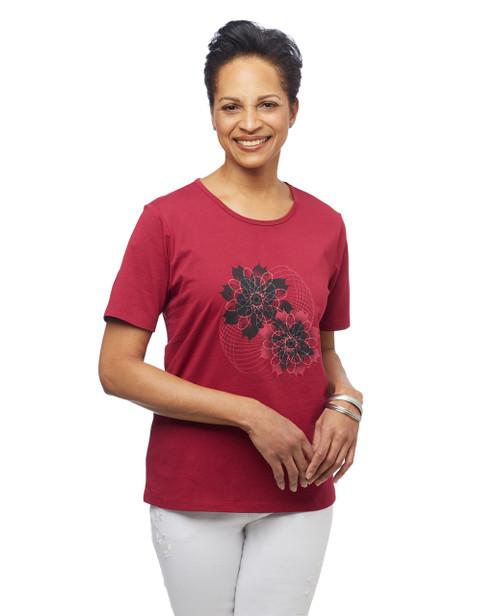 Women's portwine floral spiral graphic crew neck tee