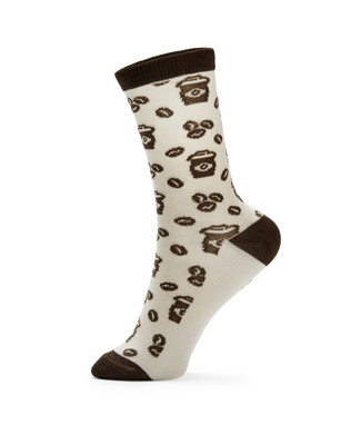"Women's vanilla socks with printed coffee with message reading ""No talking, just coffee."""