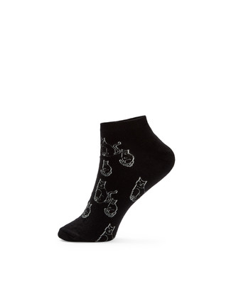 Women's black ankle socks with cats.
