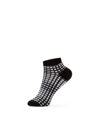 Women's black plaid ankle socks