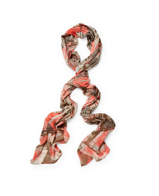 Women's coral lily palm leaf into the tropics scarf