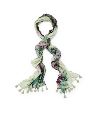 Women's sage green palm leaf scarf