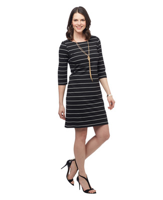 Women's black stripe mid length three quarter sleeve spring dress