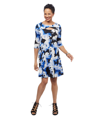 Women's black floral mid length three quarter length sleeves cut out swing dress