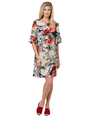 Women's black floral mid length three quarter length flutter sleeve dress