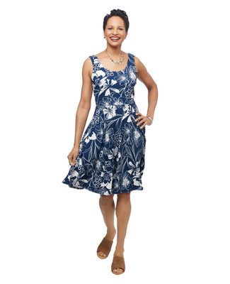 Women's marine navy blue floral sleeveless lightweight mid length swing dress