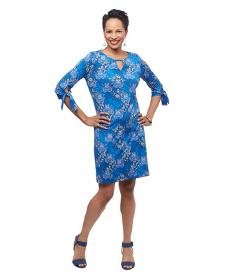Women's marine navy blue mid length three quarter length tie sleeve floral keyhole dress