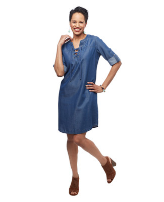 Women's medium wash blue chambray mid length lace up dress with three quarter length sleeves