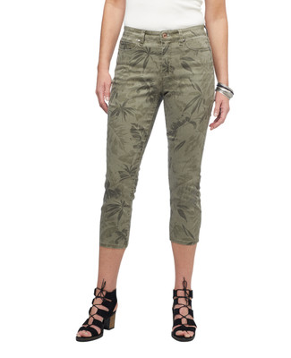 Women's aloe palm leaf cotton twill capri pants.