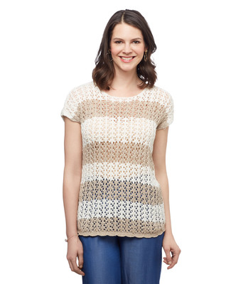 Women's vanilla stripe pointelle short sleeve spring sweater