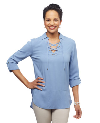 Women's pure blue collared lace up Point Zero tunic
