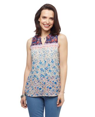 Women's navy floral mixed media sleeveless Point Zero blouse