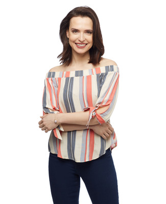 Women's vanilla stripe Point Zero off the shoulder blouse