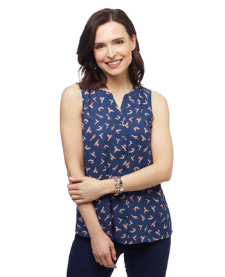 Women's marine navy all over birds print button up sleeveless blouse