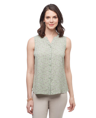 Women's sage green petite all over birds print sleeveless blouse