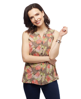 Women's palm leaf sleeveless blouse