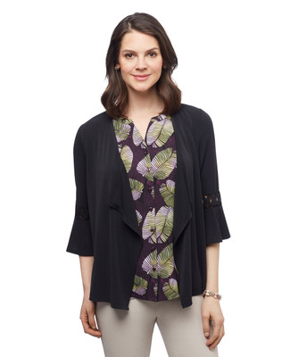 Women's lace three quarter bell sleeve open front topper cardigan