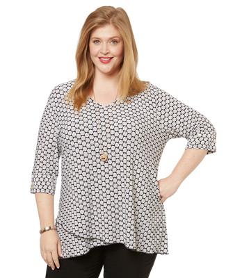 Women's white printed v neck three quarter sleeve tunic