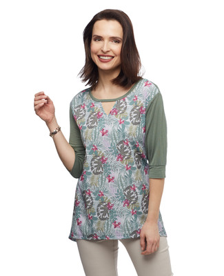 Women's moss green palm leaf printed sharkbite tunic tee