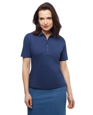 Women's solid collared cotton polo golf shirt
