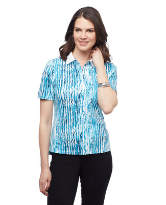 Women's collared printed cotton polo golf shirt