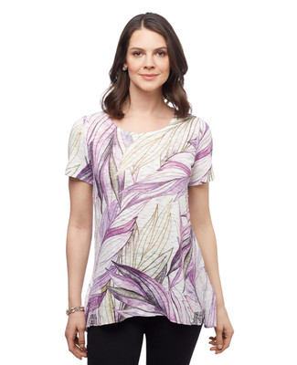 Women's lilac purple palm leaf sublimation tunic top