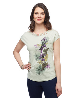 Women's sage green short sleeve cotton parrot graphic tee with lace detailing