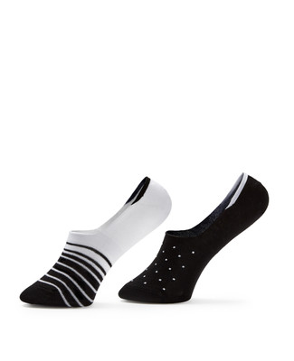 2 Pack Stripe Dot No Show Socks