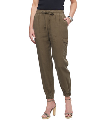 Women's cuffed green pull on cargo pants from the Amanda Green collection