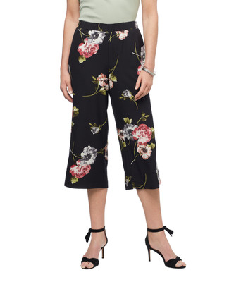 Women's wide leg cropped floral pants in black