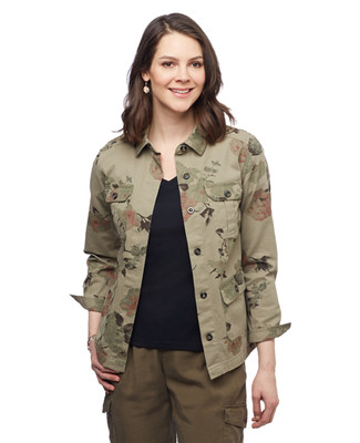 Women's moss green floral printed cargo jacket with pockets
