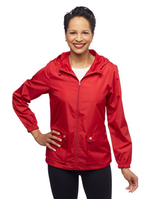 Women's water resistant packable spring jacket with hood