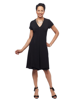 Women's black short sleeve v neck spring dress