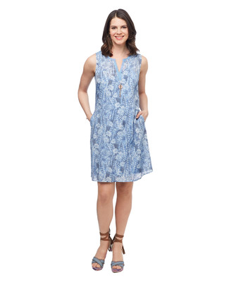 Women's floral sleeveless spring dress with lace neckline
