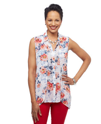 Women's floral button up sleeveless spring shirt from the Point Zero collection